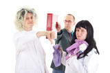 Female cleaners in white work coats with supervisor poster