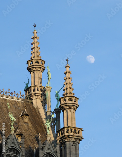 Towers and statues on Grand Place in Brussels