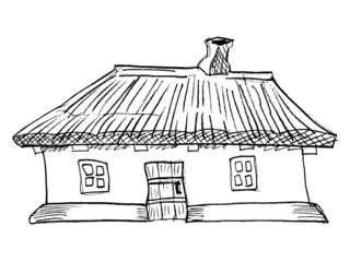 cartoon, vector illustration of Ukrainian traditional house