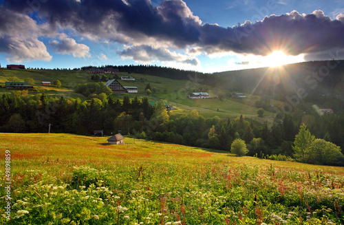 Mountain nature with sun - Krkonose - Pec pod Snezkou - Czech re
