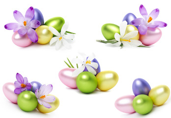 Easter eggs and crocus flowers