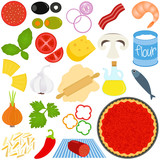 Vector Icons of Ingredients of make Pizza