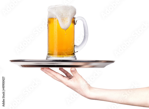 Waitresses holding tray with  beer