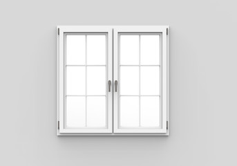 Closed Plastic Window on White Background