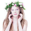 Spring Beauty - Beautiful woman with flower wreath