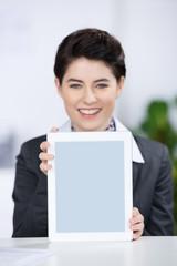 mitarbeiterin zeigt informationen am tablet