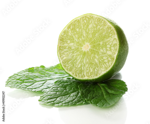 Mint with lime isolated on white
