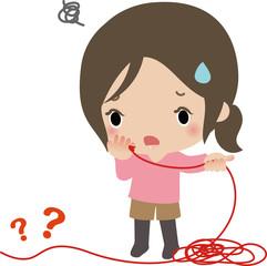 赤い糸をたぐって困惑する若い女性