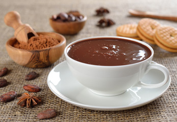 Hot chocolate on a jute background