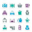 Hotel and motel services icons - vector icon set