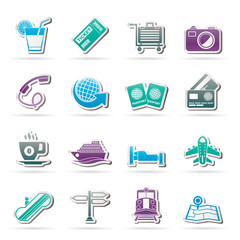 Travel and vacation icons - vector icon set