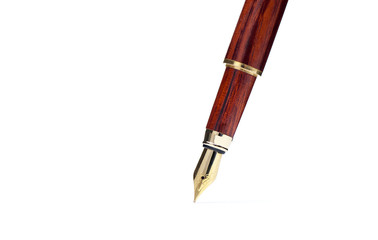 tip of old fountain  pen isolated with clipping path