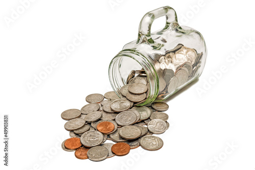 Glass Mug With Coins Spilling Out XXXL Isolated
