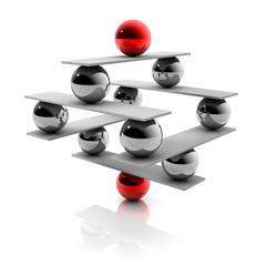 Balance: abstrakte Konstruktion aus Kugel - 3D Grafik