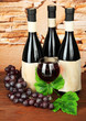 Composition of wine bottles, glass and  grape,