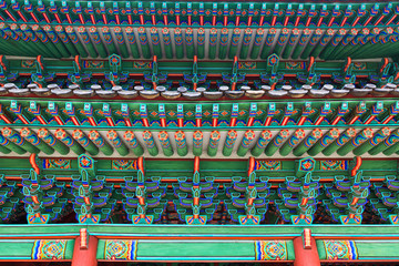 Decorated woodwork on the roof in South Korea.
