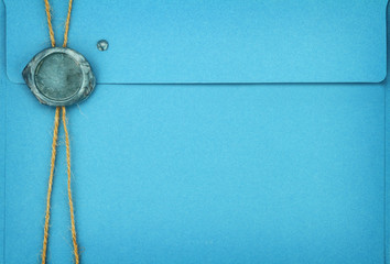 Blue envelope with sealing wax stamp
