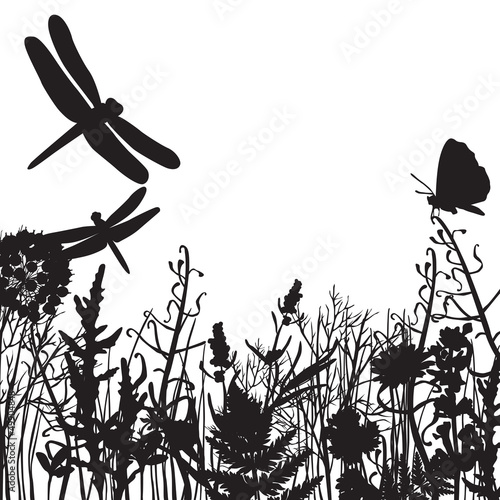 black and white silhouettes of nature