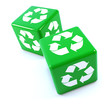 Two green dice with recycle symbol