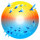 flying birds & swimming fishes, ecosystem illustration poster