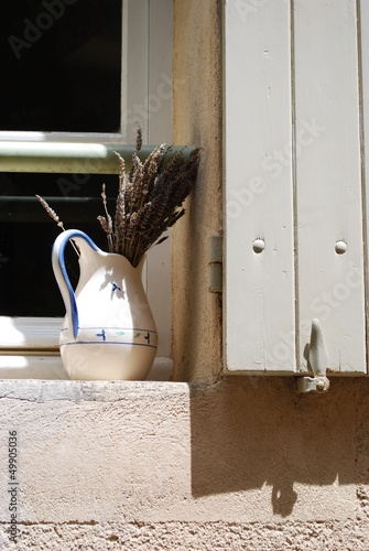 Window with carafe and lavender, Provence, France