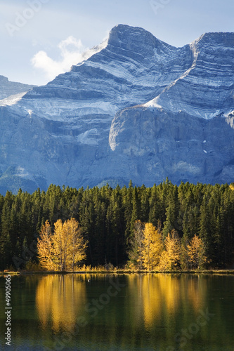 Autumn Trees Reflected on Lake with Rocky Mountains in Banff
