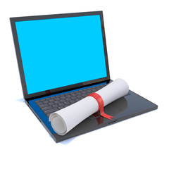 Laptop with diploma certificate