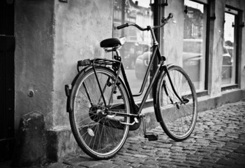 Classic vintage retro city bicycle in Copenhagen, Denmark