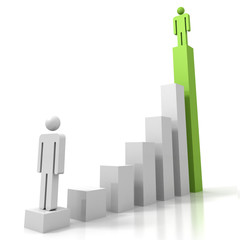 3d man figures on success carreer bar chart
