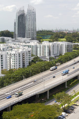 Skyline and highway traffic in Singapore city