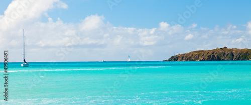 Leinwanddruck Bild Sailboat on the Caribbean