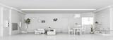Modern weiss apartment interior panorama 3d render