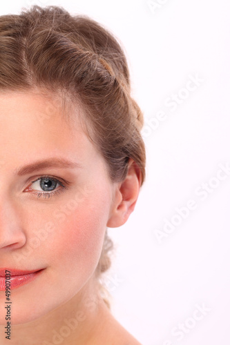 Closeup portrait of caucasian woman
