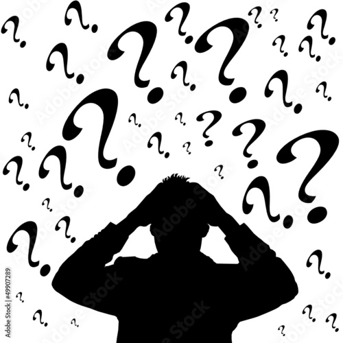 Businessman with question marks,vector file