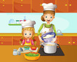 A mother and daughter cooking