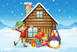 A wooden house with an elf and a penguin