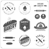 Set of bakery labels and design elements
