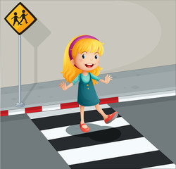 A young lady crossing the pedestrian lane