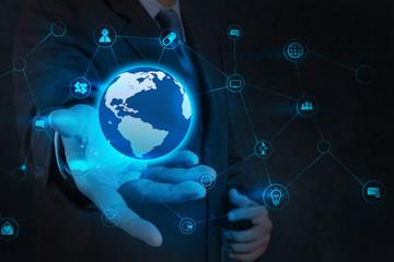 businessman hand holding business diagram