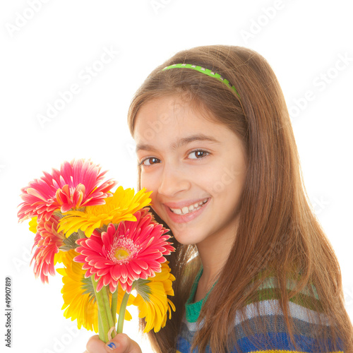 child with bunch of flowers