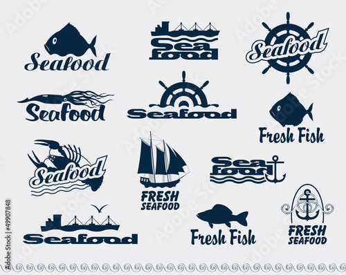 set of logos for seafood
