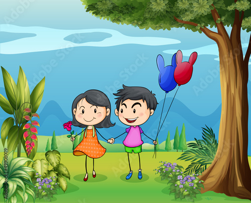 A girl and a boy dating in the garden