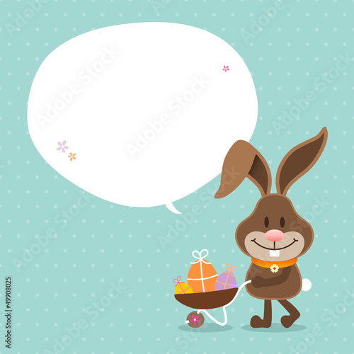 Bunny Wheelbarrow Speech Bubble Retro Dots