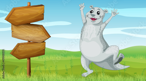 An animal beside a wooden arrow board