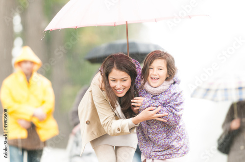 Mother and child under umbrella in rainy weather.