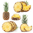 Collection of pineapple fruits isolated on white