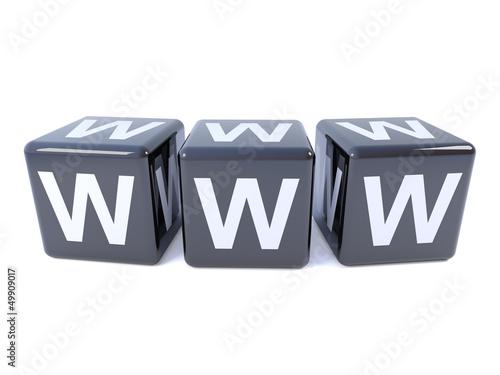 WWW spelt in black dice