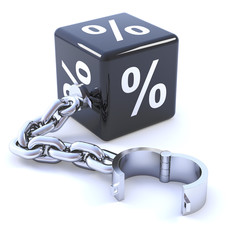 Black dice with percent sign and chain