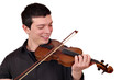 young man play violin on white