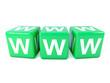 WWW spelt in green dice